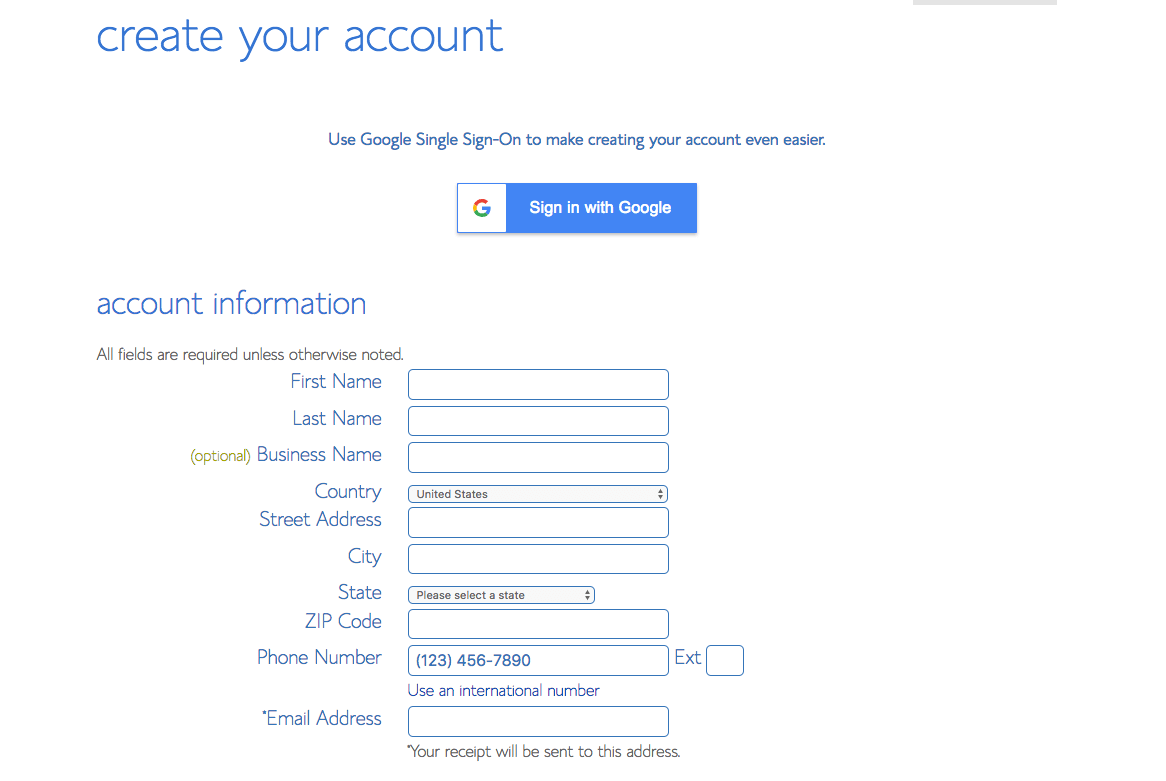 Enter your blog's account information, such as your name and address